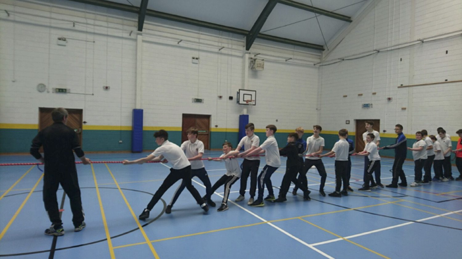 May 2017: First Year students doing tug of war with Limerick sports partnership