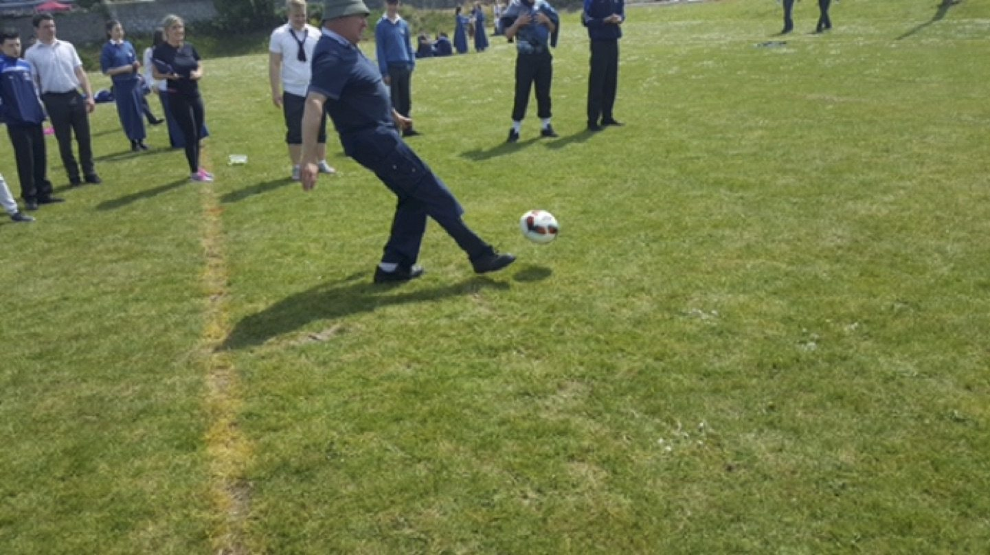 May 2017: John English participating in the penalty shoot out as part of the desmond college active school week