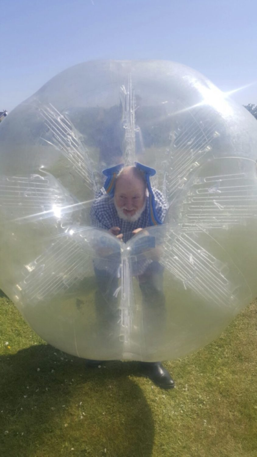 May 2017: Mr Sean Shiels Desmond College Secondary School taking on some students in Zorb Soccer