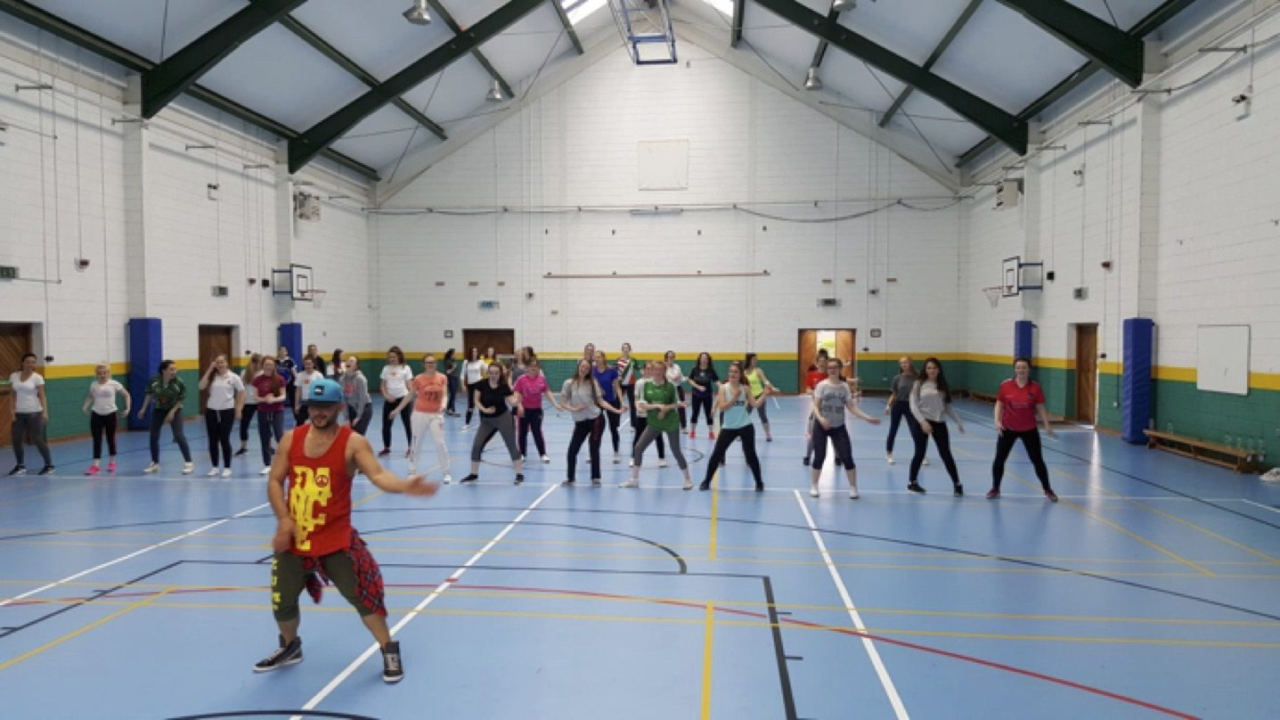 May 2017: Our leaving cert girls enjoying zumba as part of active school week in desmond college