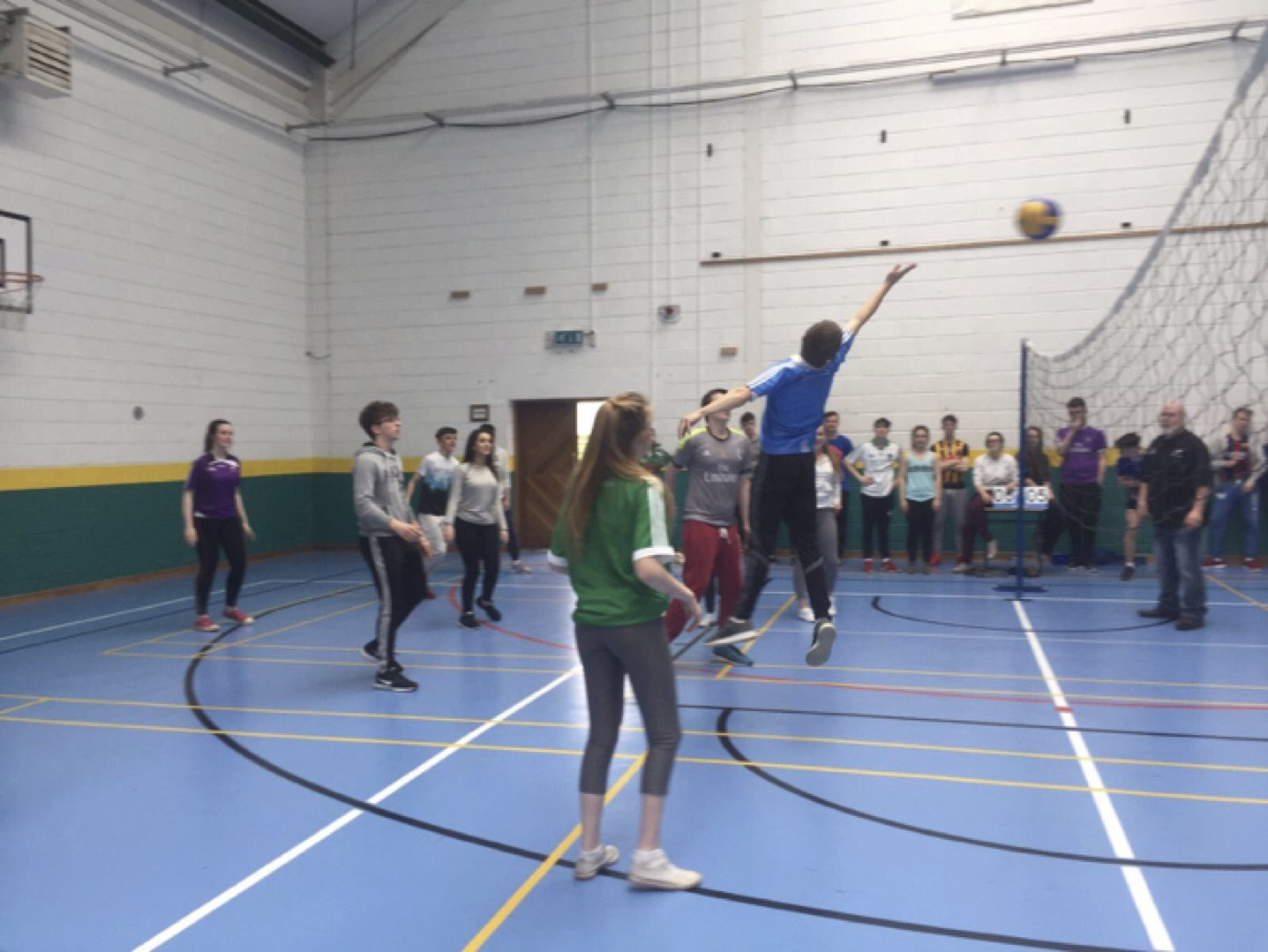 May 2017: Some Action from the teachers vs students volleyball game as part of active school week in desmond college