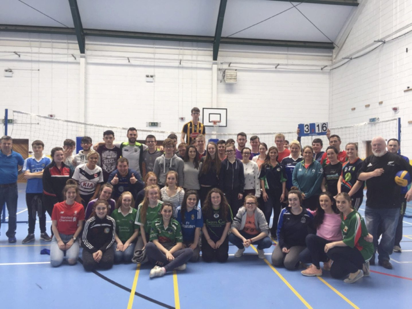 May 2017: Some of the staff and students who took part in the teachers vs students volleyball game as part of the Active School Week in Desmond College