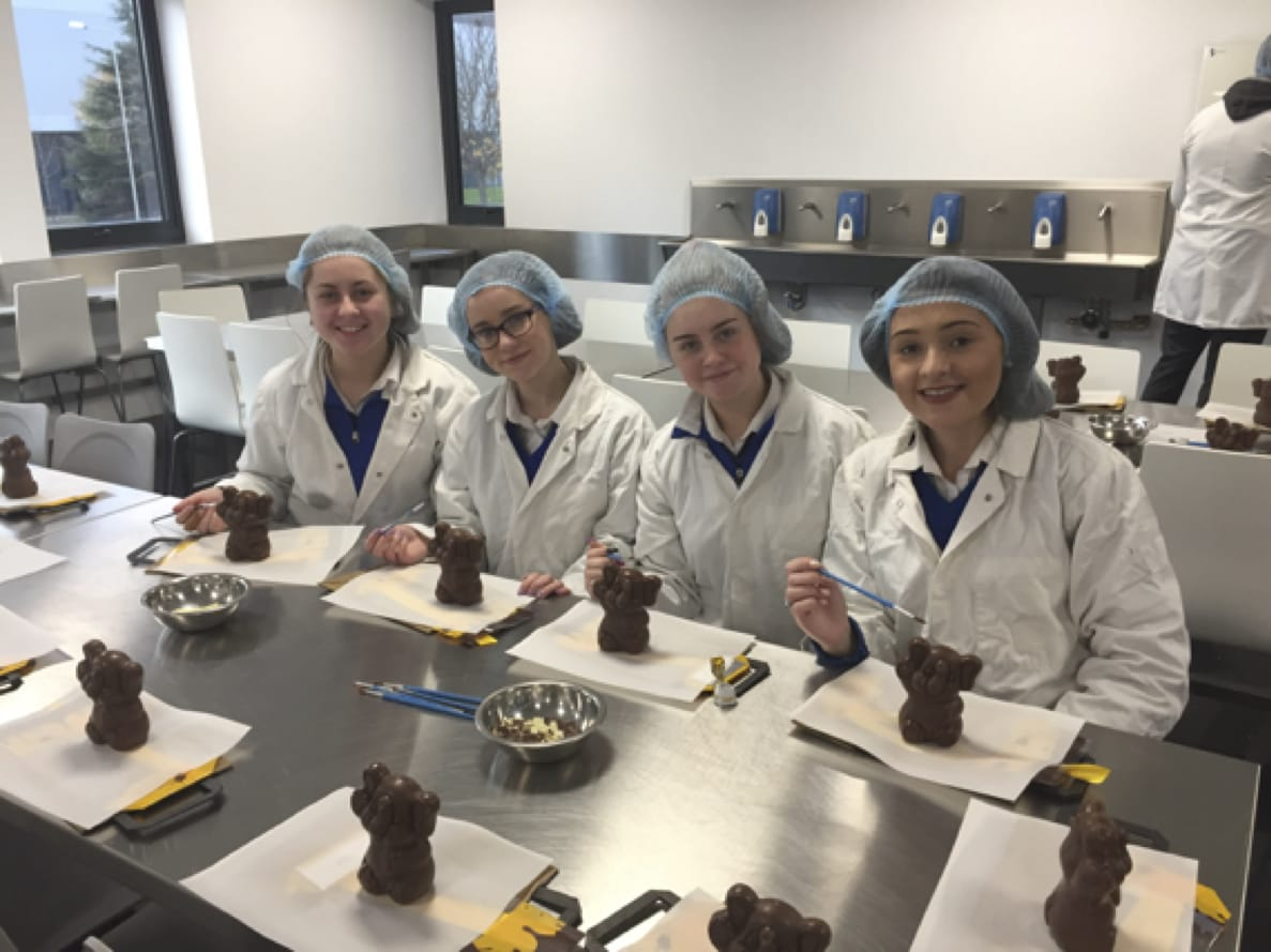 April 2017: Desmond College Post Primary School Limerick Students from Home Economics class decorating Chocolate at Butlers