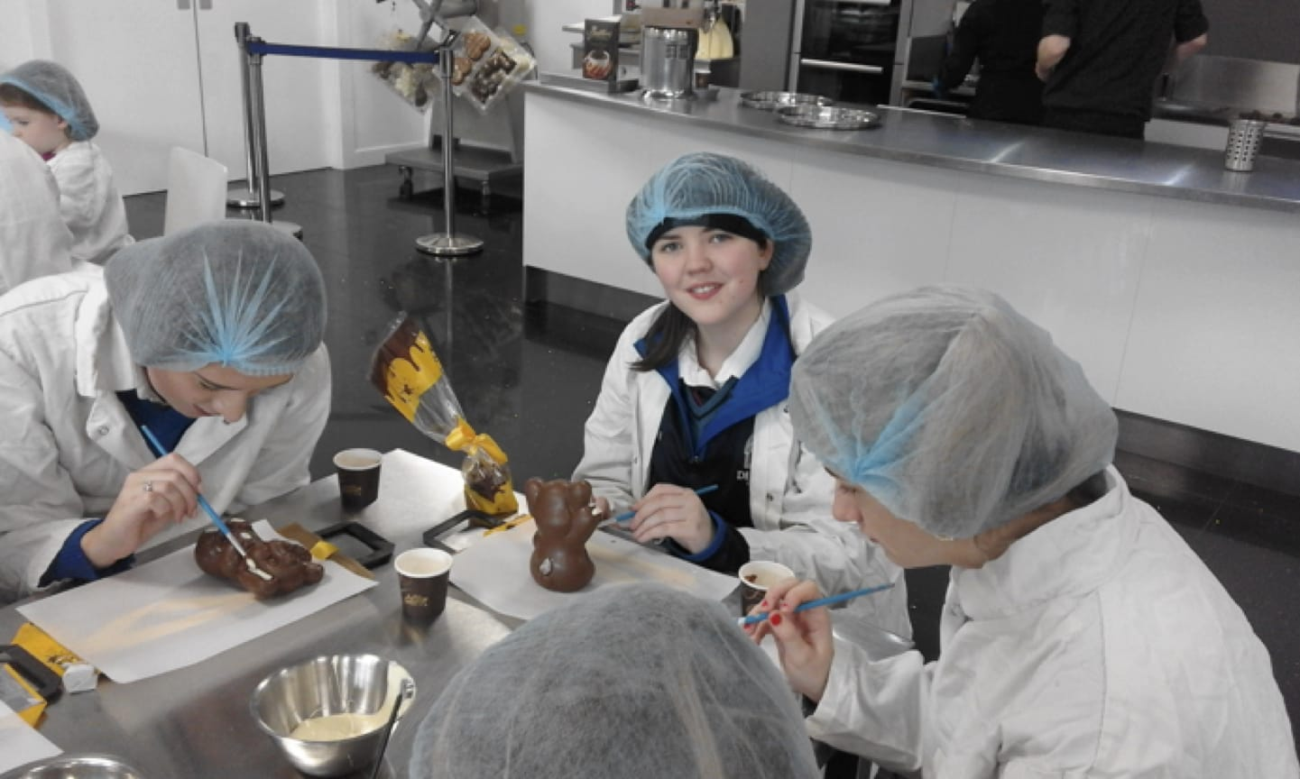 2017: 5th Year Home Economics students from Desmond College Post Primary School Limerick decorating chocolate rabbits at Butler's Chocolate Factory
