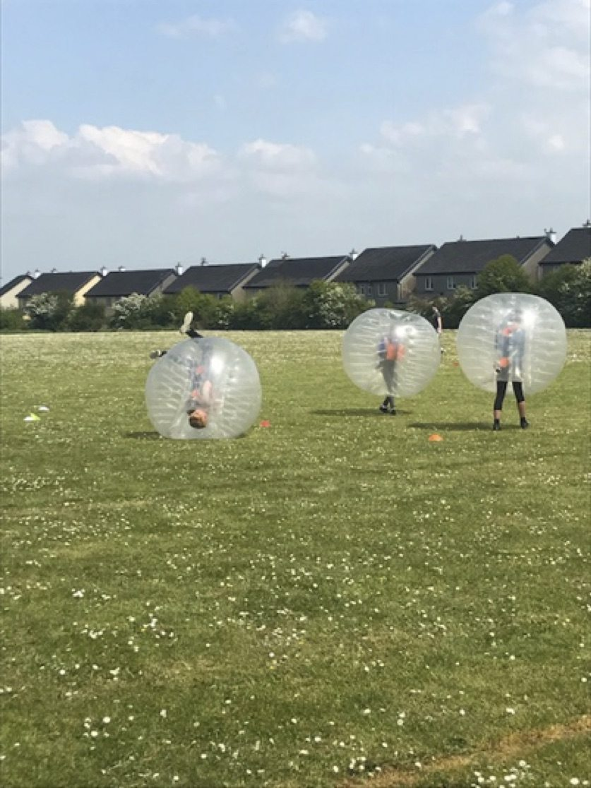 May 2017: Desmond College secondary school students enjoying Zorb soccer