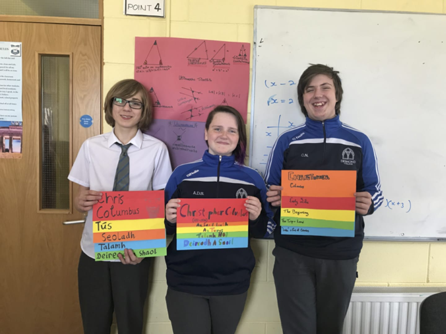 May 2017: 1st, 2nd and 3rd place winners in the Christopher Columbus History competition held in Gaelcholaiste Ui Chonba
