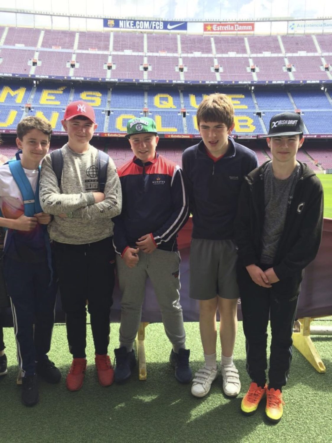 May 2017: Conor Fox, Shane O Reilly, Shane Copse, Darragh Leahy and Billy Cunningham at Barcelona's Nou Camp Stadium
