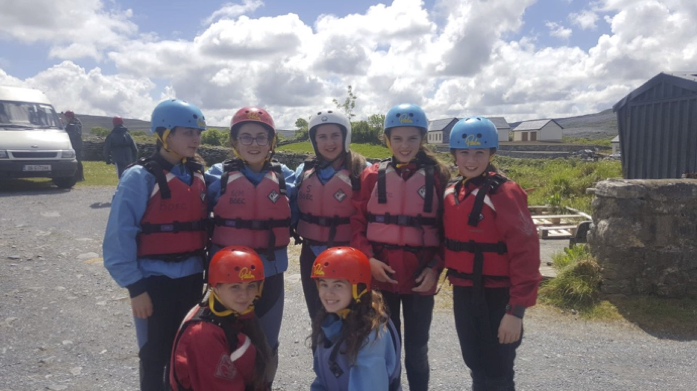 May 2017: Some of our First Year students about to take part in some of the activities as part of their PE trip to the Burren