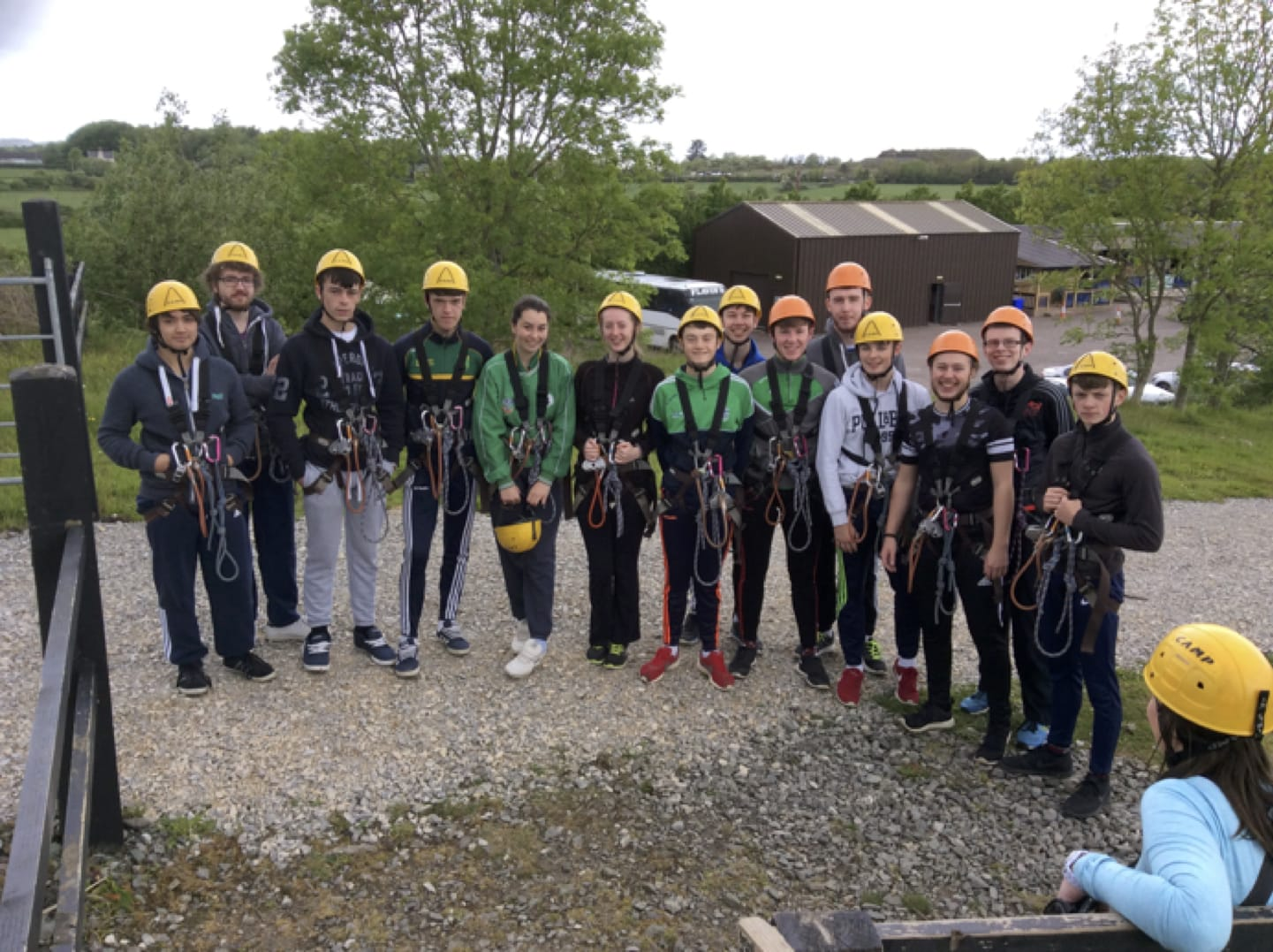 May 2017: Desmond College Post Primary School Newcastle West, Leaving Certificate students about to go zip lining in Ballyhass Lakes