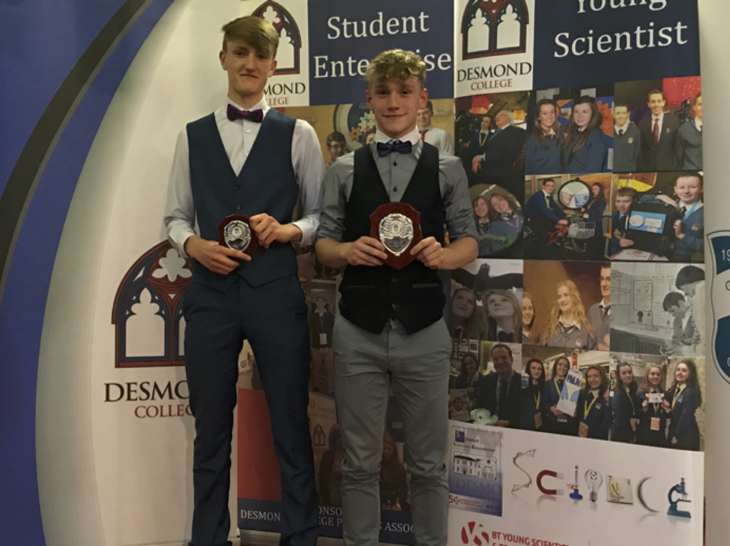 May 2017: Emmett Wrenn and Liam Callinan receiving awards fro Peer Mentoring