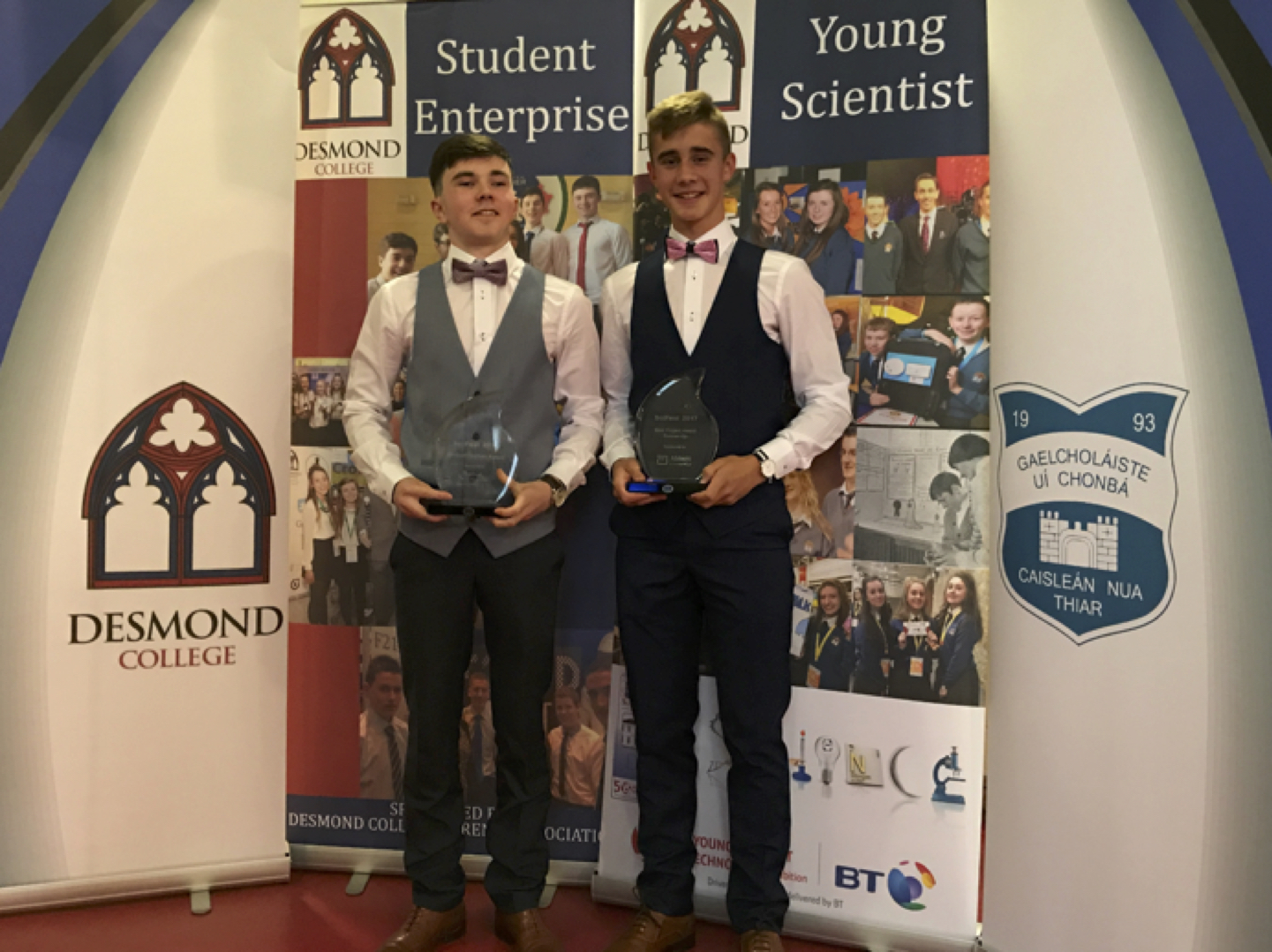 May 2017: Thomas Curtin and Dylan Moloney receiving their awards for Innovation at the TY Graduation