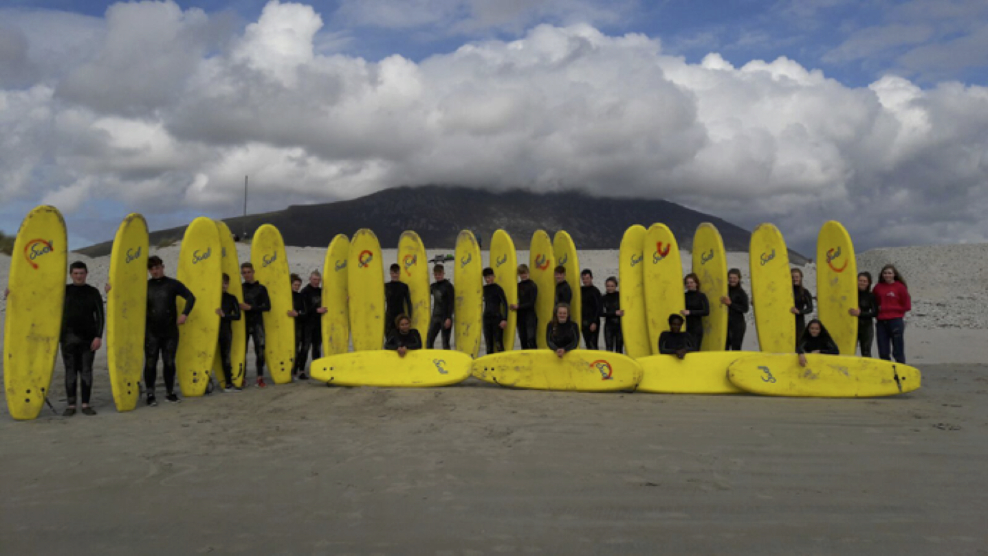 Sept 2017: Transition Year students getting ready to surf during their adventure trip to Achill