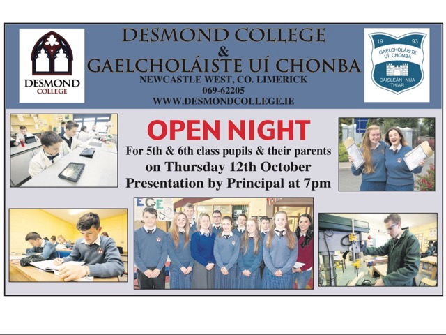 October 12, 2017: Desmond College Post Primary School Newcastle West Limerick Open Night