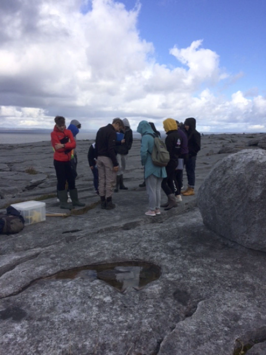 Sept 2017: Desmond College Leaving Certificate Geography students analysing the bedrock in the Burren