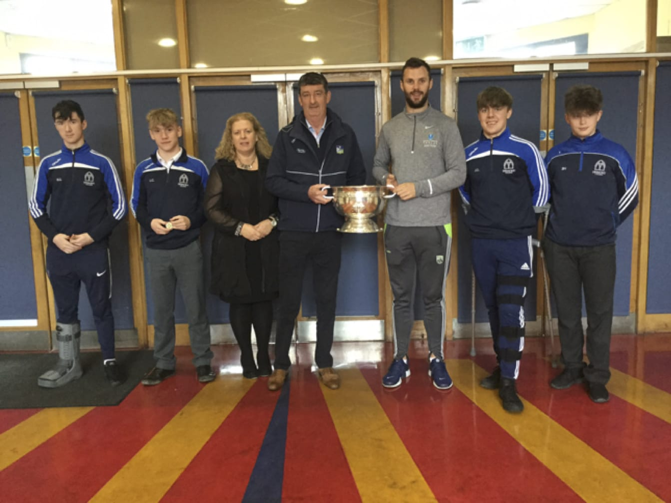 Oct 2017: Desmond College Football team presented with their County Football victory medals by Limerick County Football Chairman John Cregan