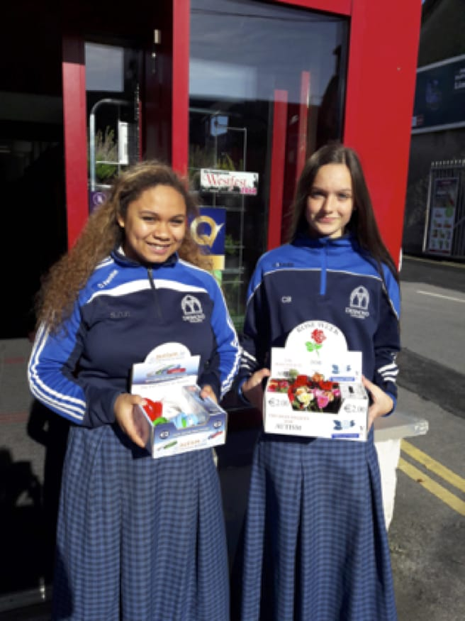 October 2017: Desmond College Post Primary School students collecting for Autism