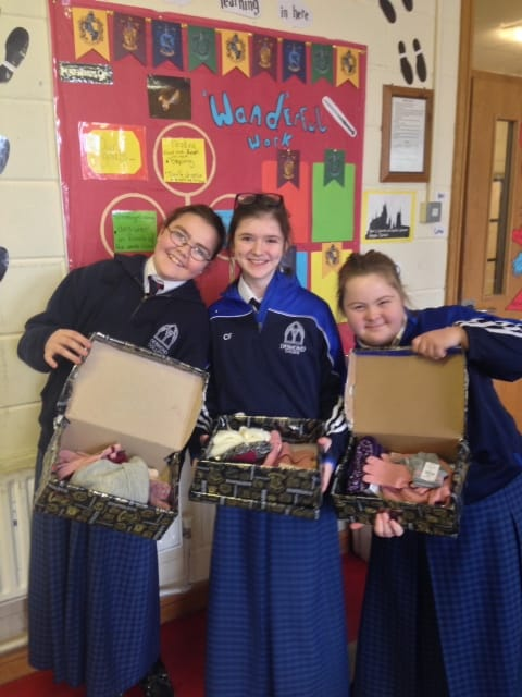 Nov 2017: Desmond College students pictured with their shoeboxes for the Christmas Shoebox Appeal