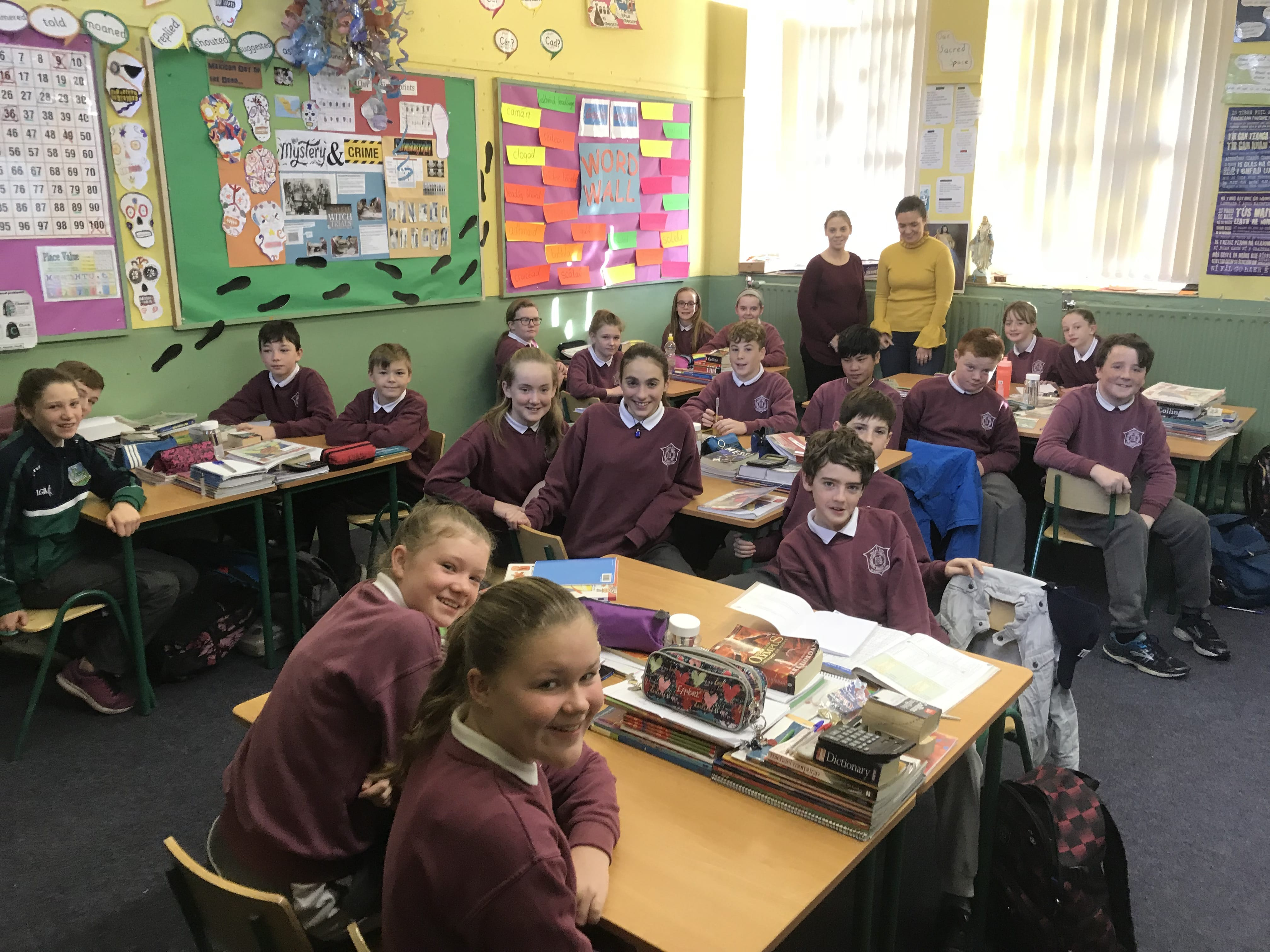 Nov 2017: The Sixth Class students in Shanagolden National School along with Ms Culhane and Ms Corkery Desmond College Teachers