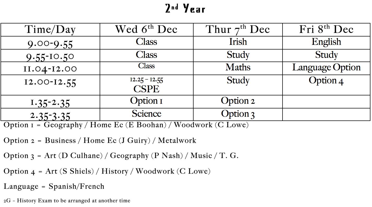 Christmas Exams 2017: 2nd year
