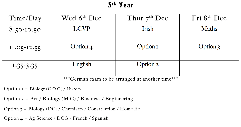 Christmas Exams 2017: 5th year