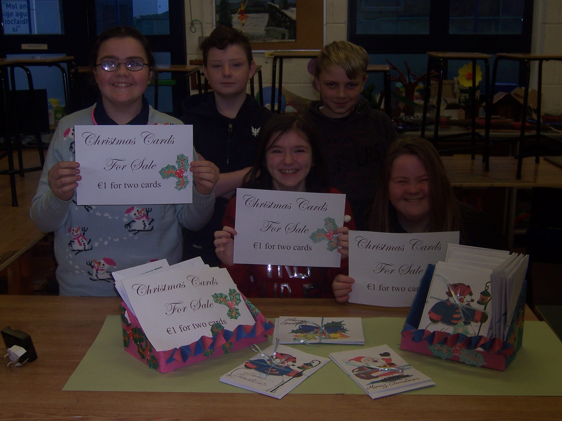 Dec 2017: Katelyn O'Sullivan, Edward O'Brien, Aaron Enright, Clodagh Flatley and Lydia Murphy with the Christmas card they designed as a mini enterprise