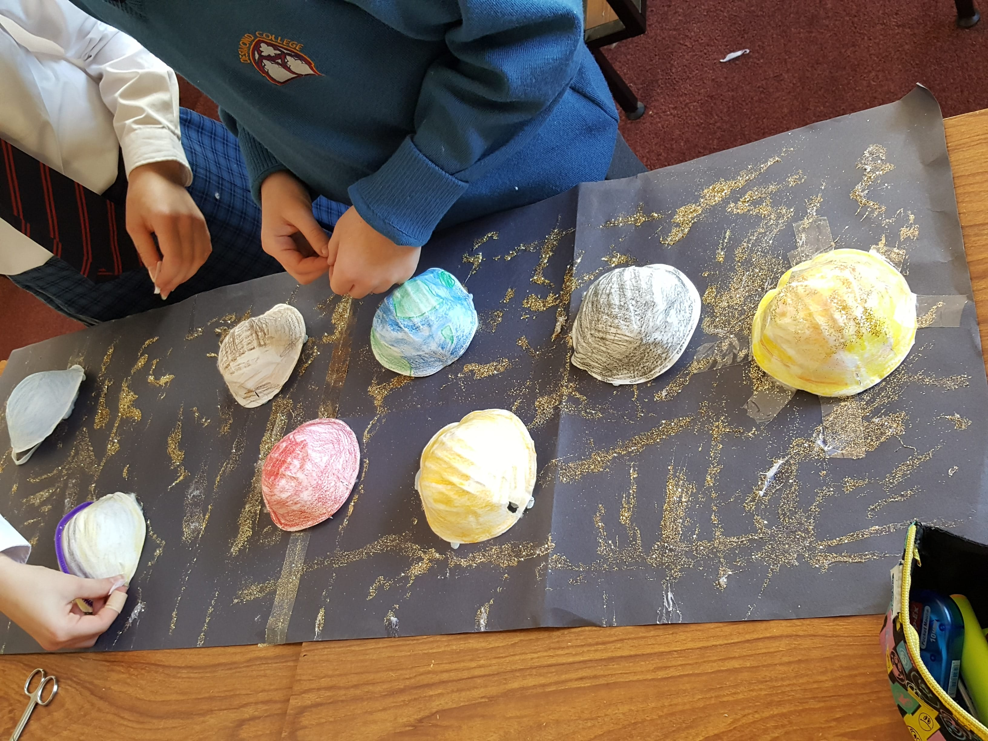 First Year Students working on their models of the solar system