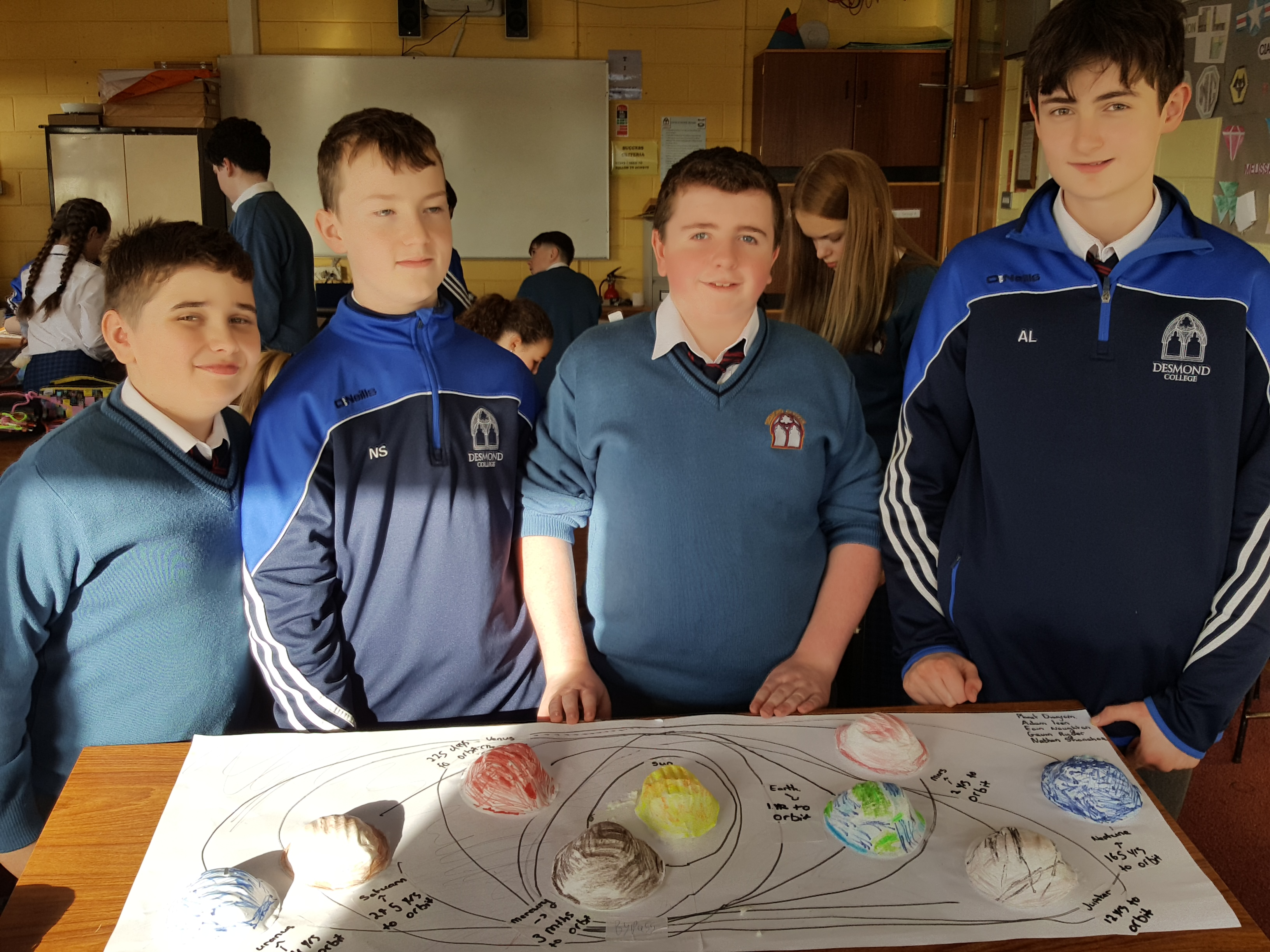 Eoin Naughton-Powell, Nathan Shanahan, Gavin Ryder and Adam Leen with their model of the Milky Way.