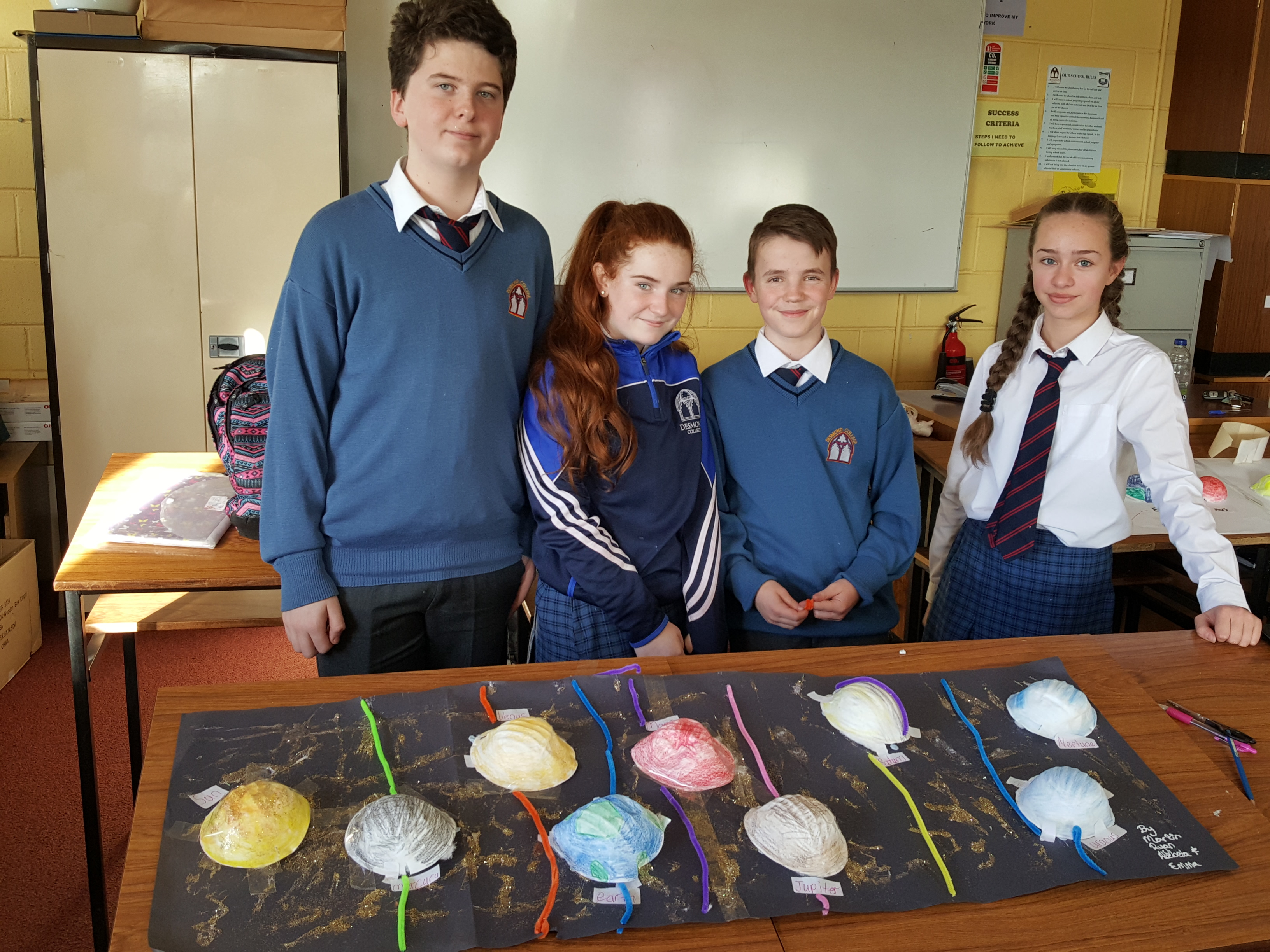 Martin Campbell, Emma O Shea, Ryan Moloney and Alzbeta Barisova making their Milky Way models