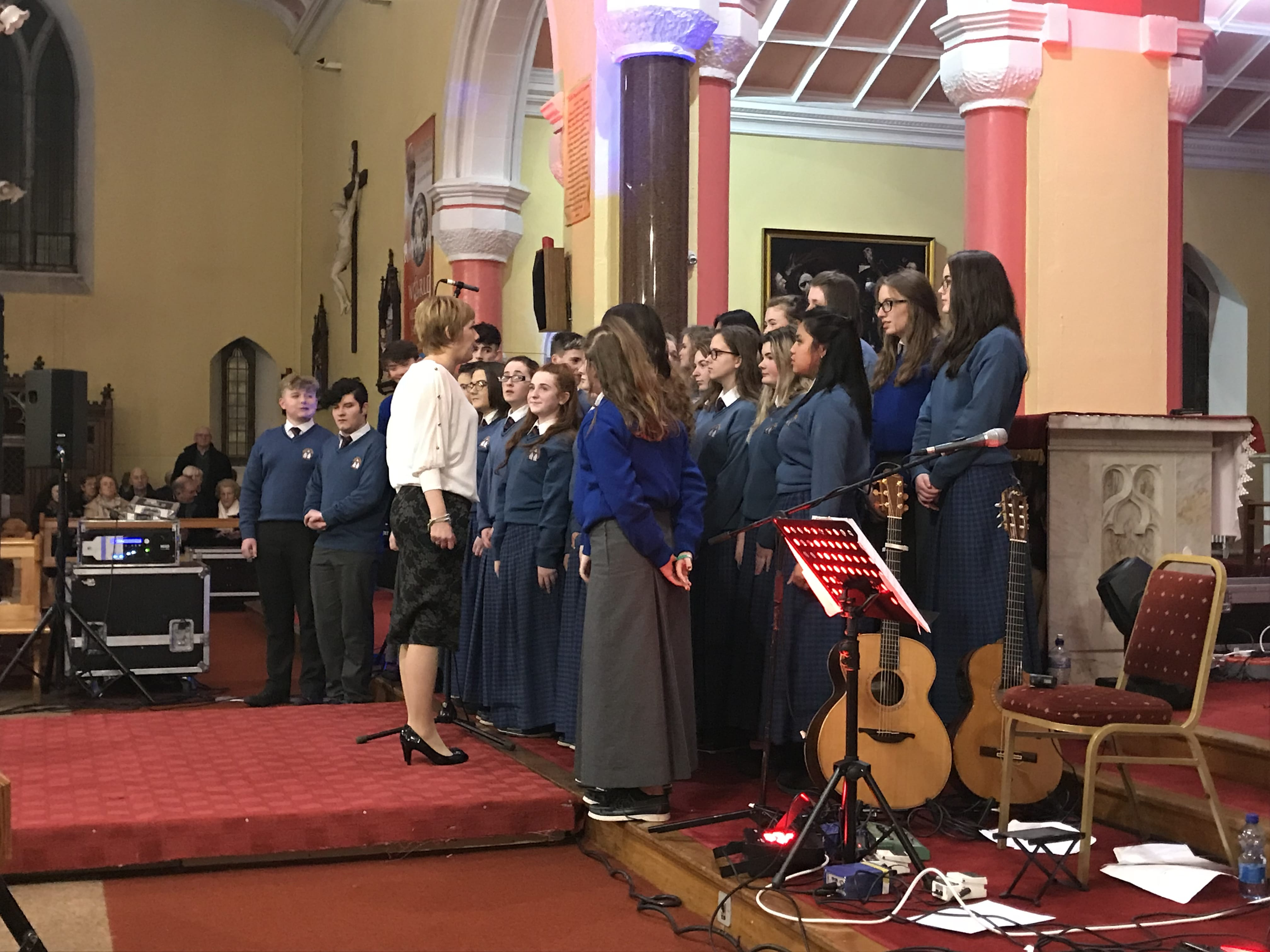 December 2017: Desmond College Choir with teacher Ms Keane  at the Liam Lawton concert