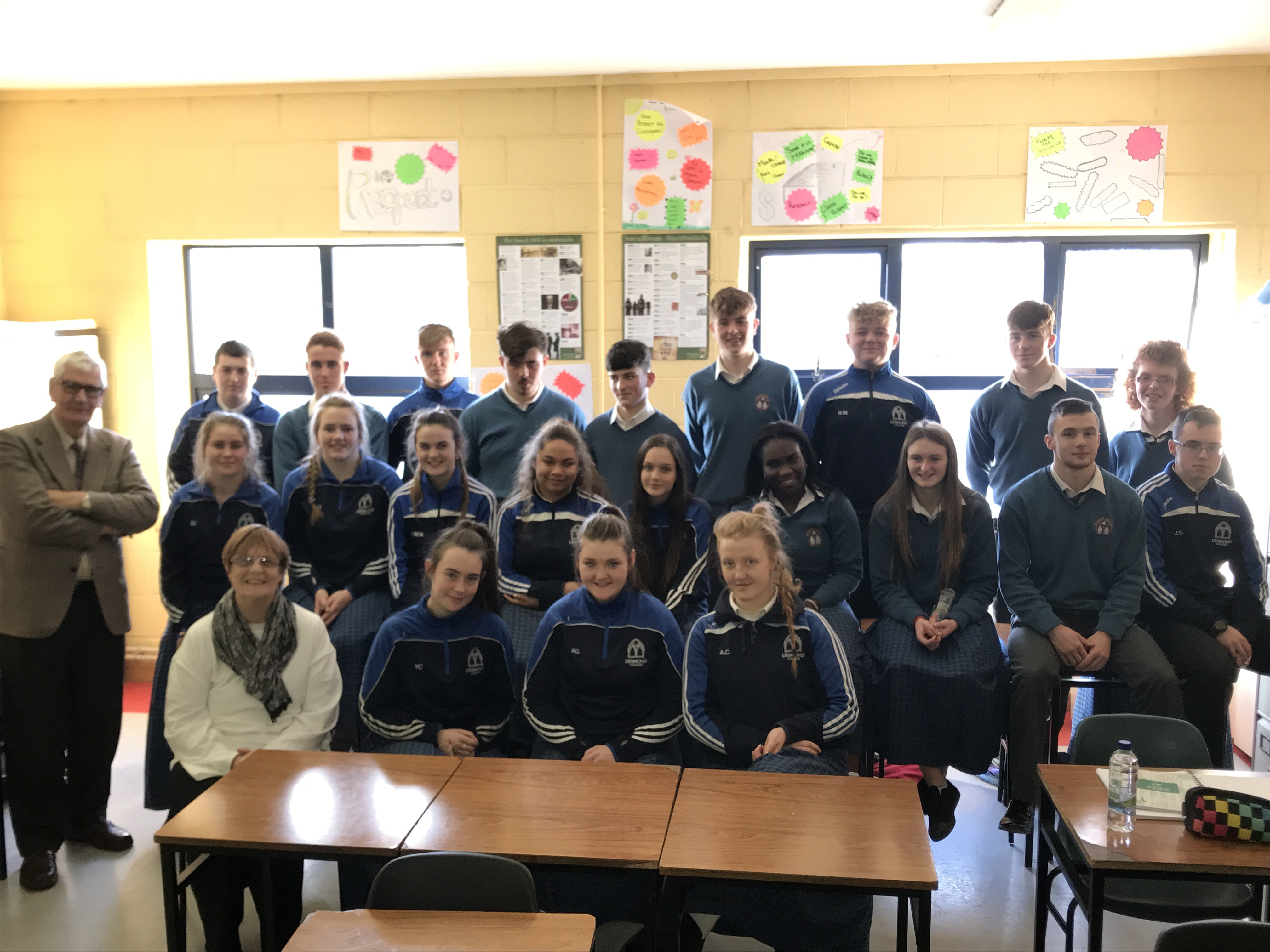 Dec 2017: Denis and Noleen Sexton giving a talk to the Transition Year Students about the work being done by the Irish Society for Autism