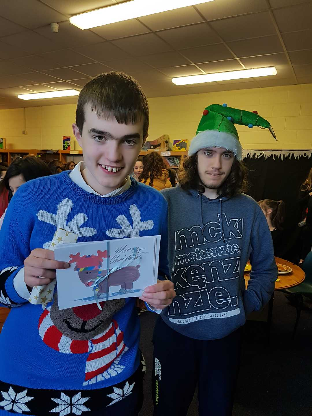 Dec 2017: Alan Wallace and Kalon O'Brien with Christmas cards they designed for the Christmas Market