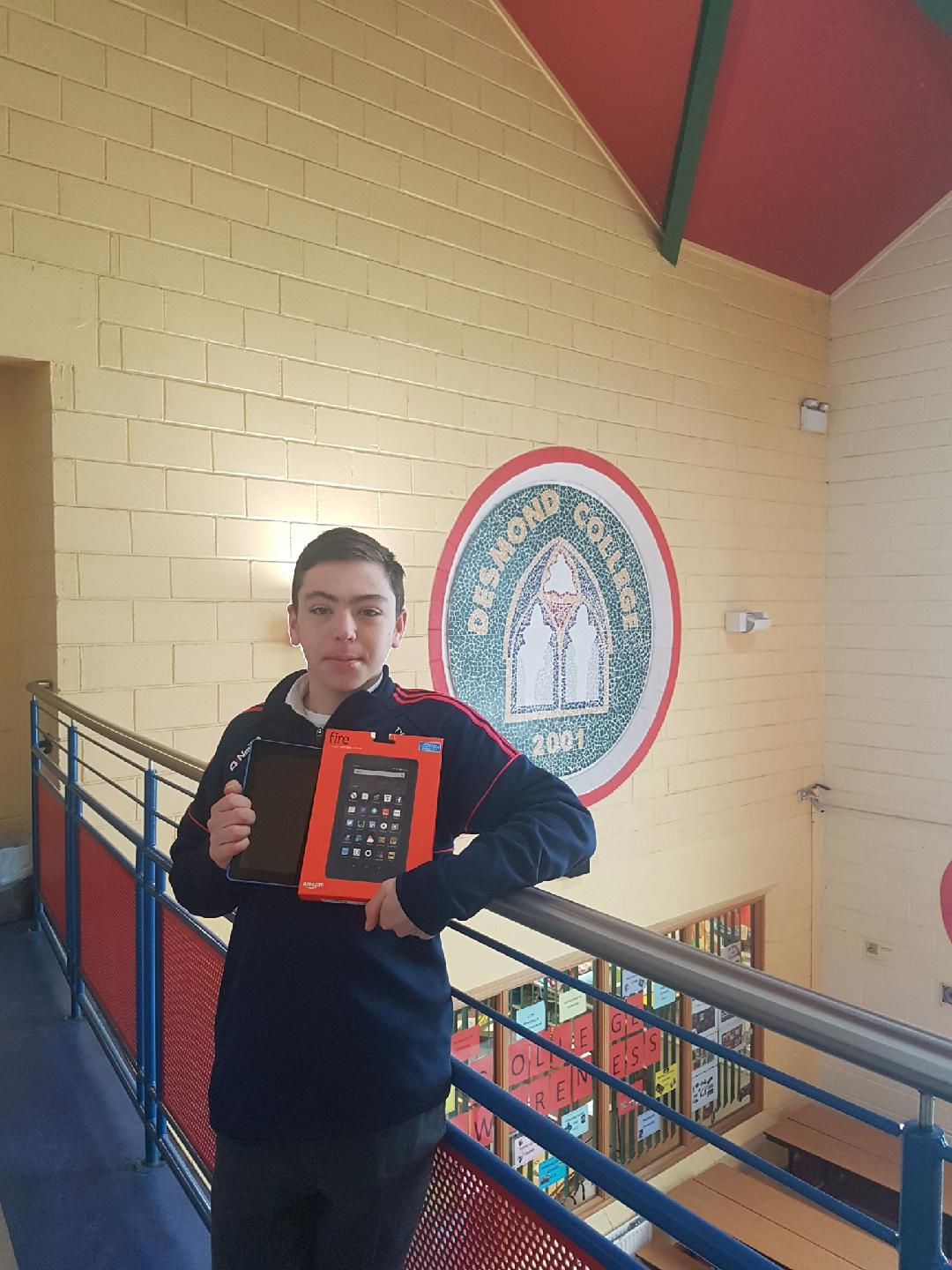 Congratulations to our Desmond College winner of a Tablet in the TY Christmas draw