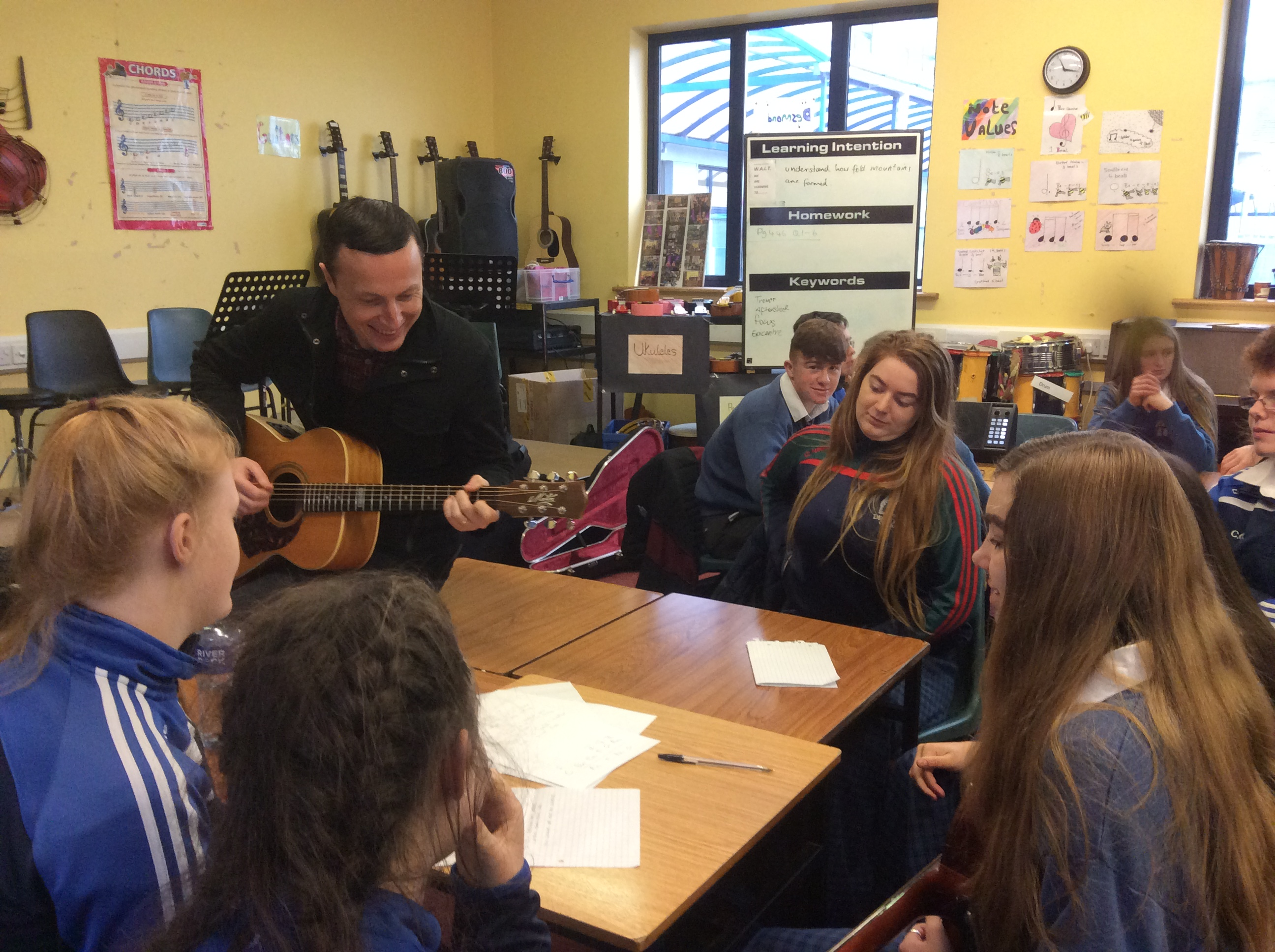 January 2018: Tony Monahan from Limerick Music Generation delivering a workshop to our Transition Year students