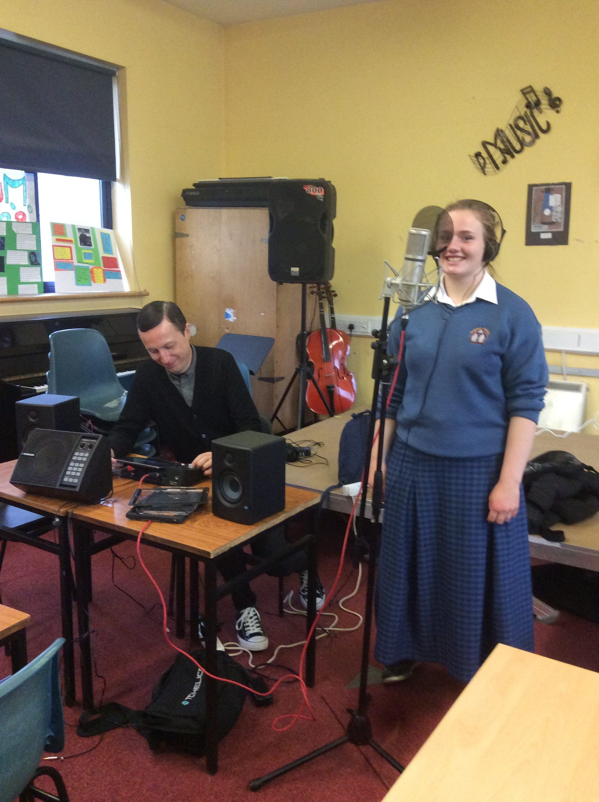 Jan 2018: Desmond College student records song composed by TY Students during Music workshop with Tony Monahan from Limerick Music Generation