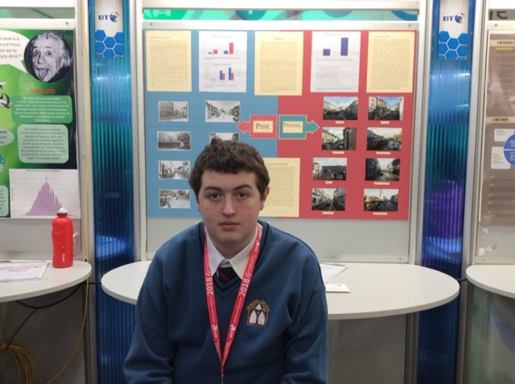 Jan 2018: Desmond College student presenting his project which investigated how Newcastle West has changed over the years