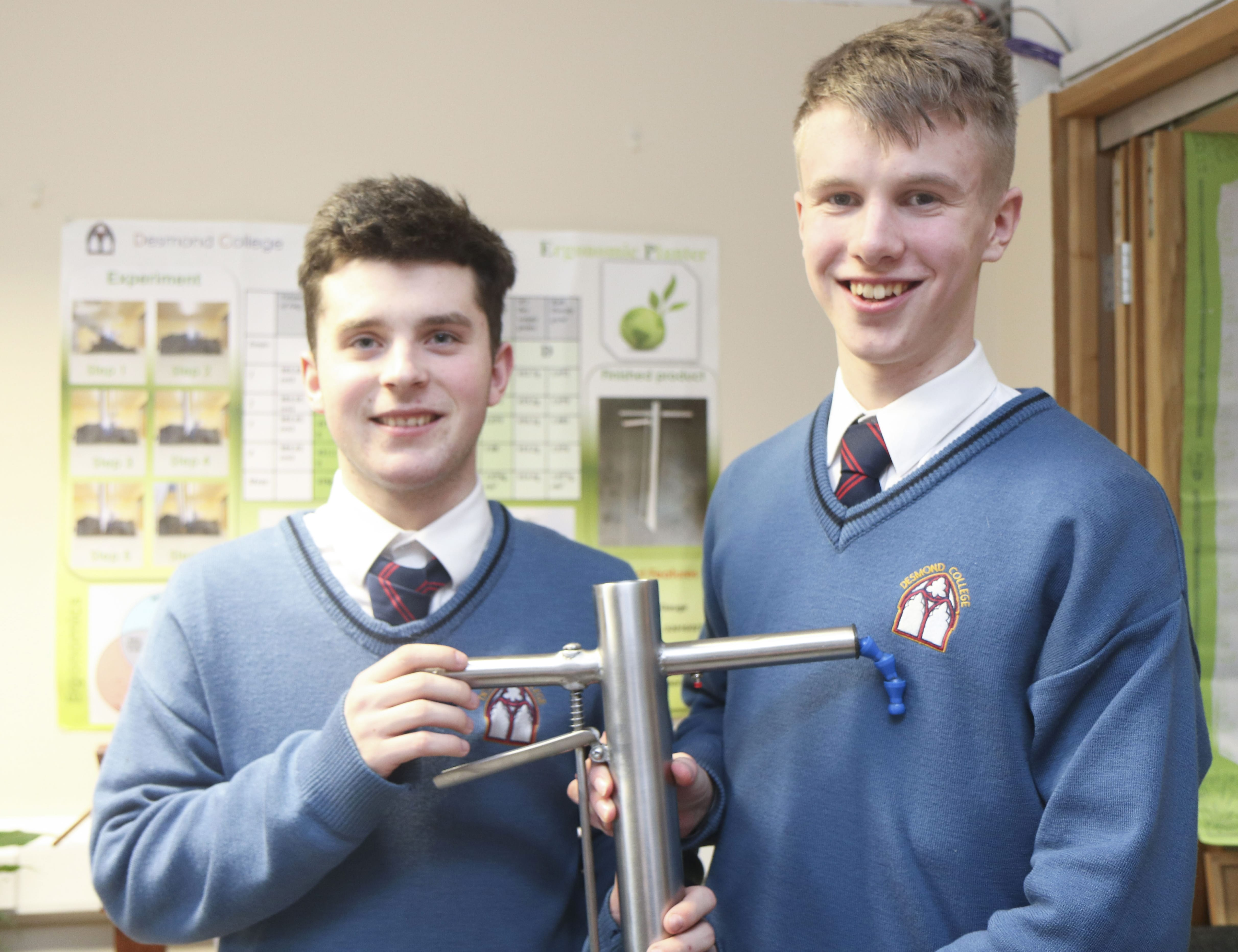 January 2018: Diarmuid Curtin and Jack O Connor with their handheld seed planting device