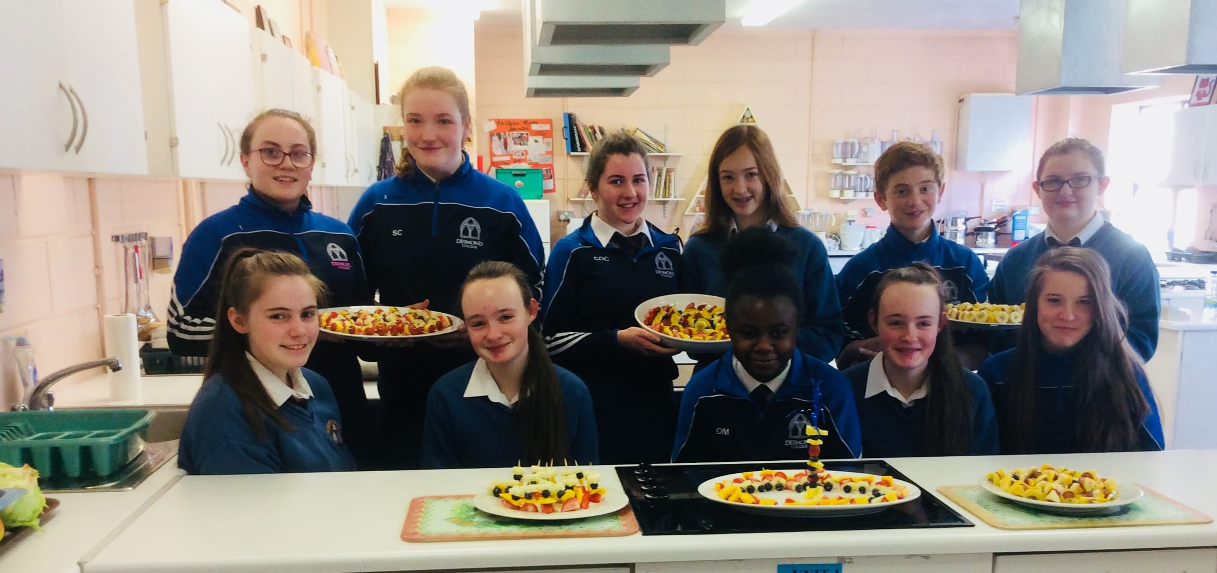 Jan 2018: Desmond College Second Year students preparing fruit kebabs as Part of Healthy Eating Week