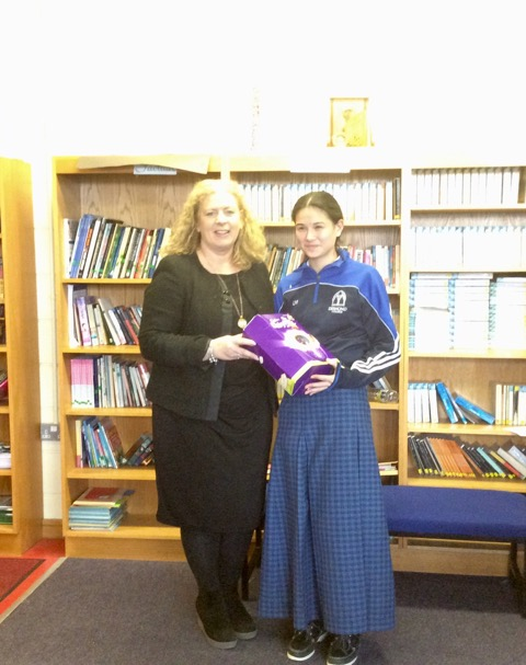 March 2018: Desmond College First Year winner in the Spelling Bee with Principal Ms. Vourneen Gavin Barry