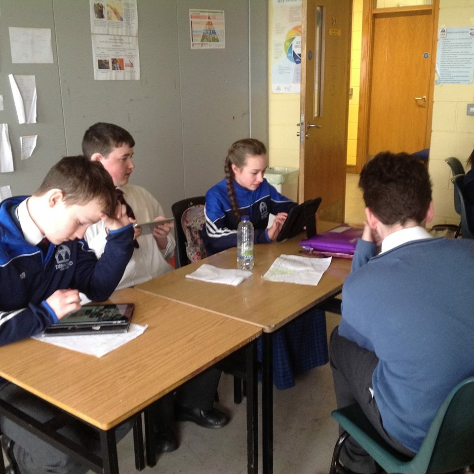March 2018: First Years in Mrs O'Leary's English class writing scripts for plays which they later performed