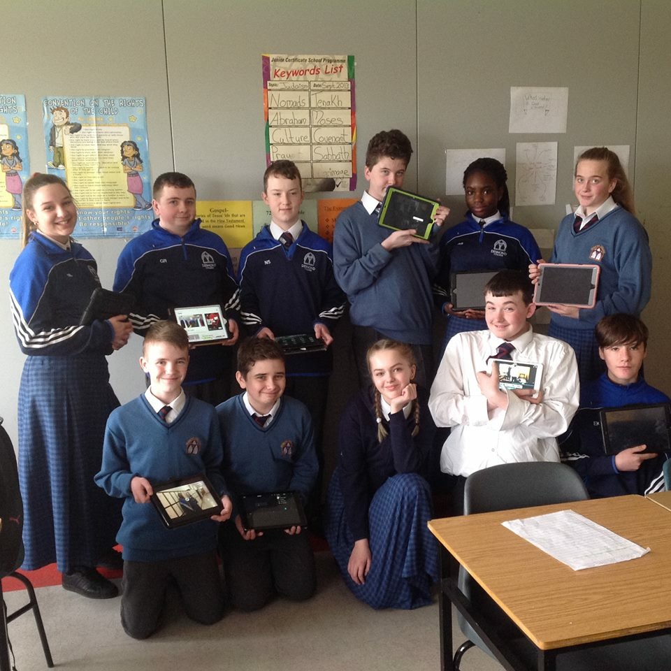 March 2018: First Years in Mrs O'Leary's English class writing scripts on their iPads for plays which they later performed