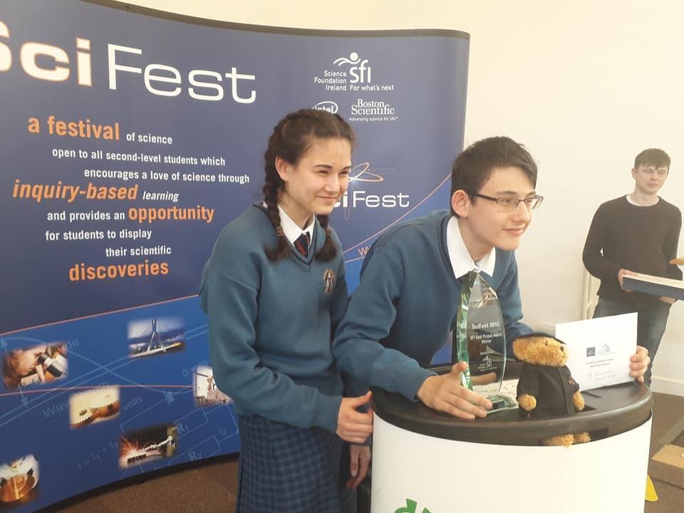 April 2018: Ronan receiving his prize at Scifest