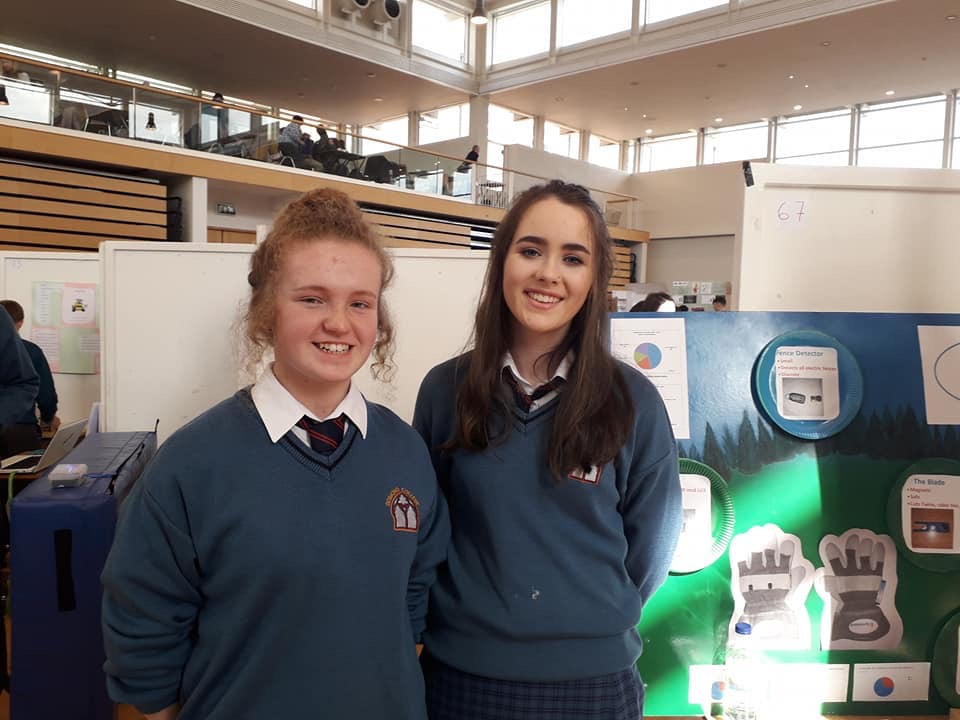 April 2018: Kayla McMahon and Fiona Kelly, winners of 2nd prize Senior Technology at Scifest, narrowly beaten by class mate Ronan Mullane who won 1st prize and was overall winner