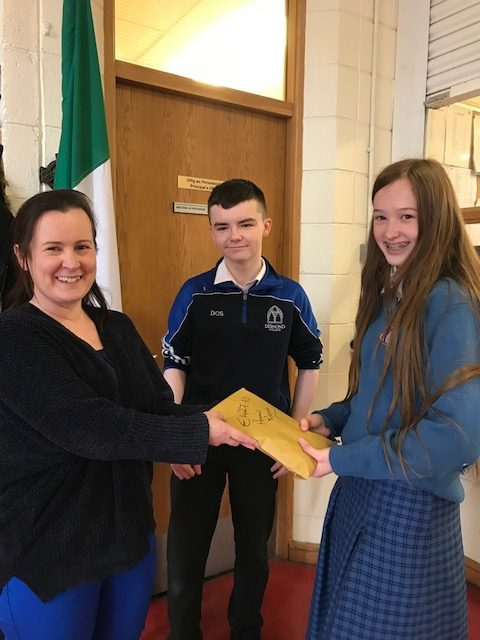April 2018: Money being presented to Deel Animal Shelter from Desmond College's Non-Uniform Day