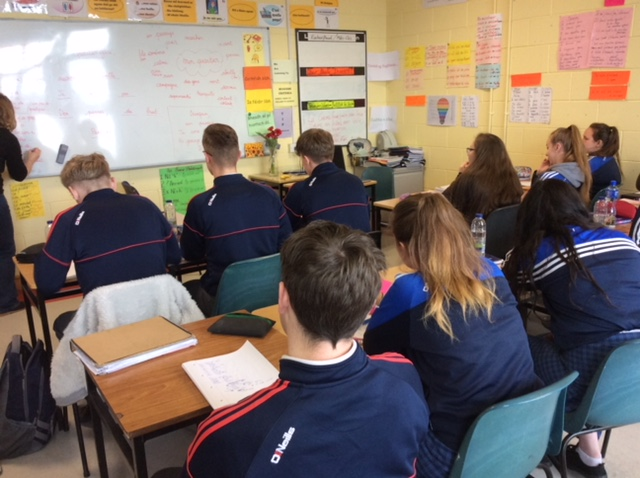 May 2018: 5th year students participate in a French poetry writing workshop