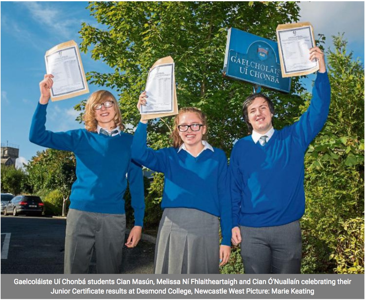 12th Sept 2018: Desmond College and Gaelcholaiste students celebrate their Junior Certificate Results