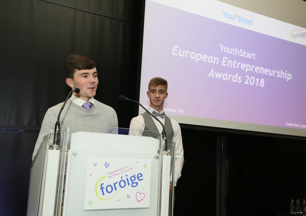 Nov 2018: Dylan Moloney. & Thomas Curtin compering at the European Student Enterprise Finals, held in Croke Park.