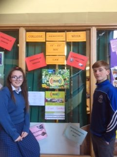 Nov 2018: Kellie Griffin and Darren Bridgeman 3rd year students checking out what is on offer during College Awareness Week