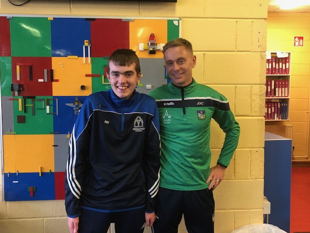 Nov 2018: Alan Wallace pictured with Joe O'Connor (Limerick Senior Hurler Trainer) who gave an inspirational talk to our students as part of College Awareness Week.