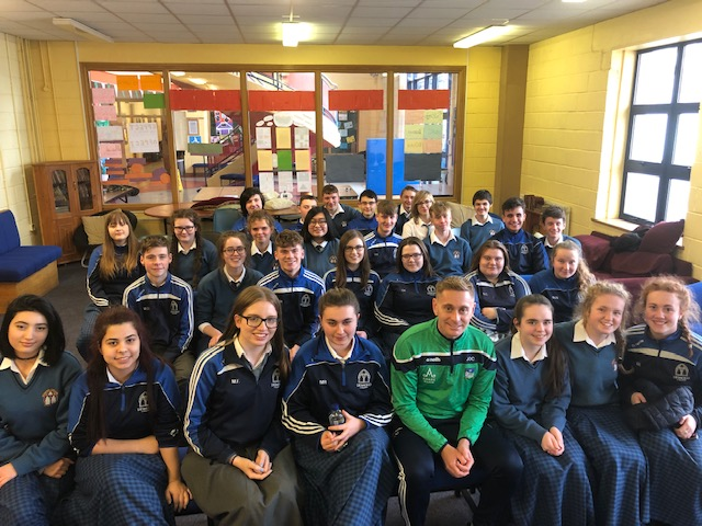 Nov 2018: Desmond College Transition Year pictured with Joe O\Connor (Limerick Senior Hurler Trainer) who gave an inspirational talk to our students as part of College Awareness Week.
