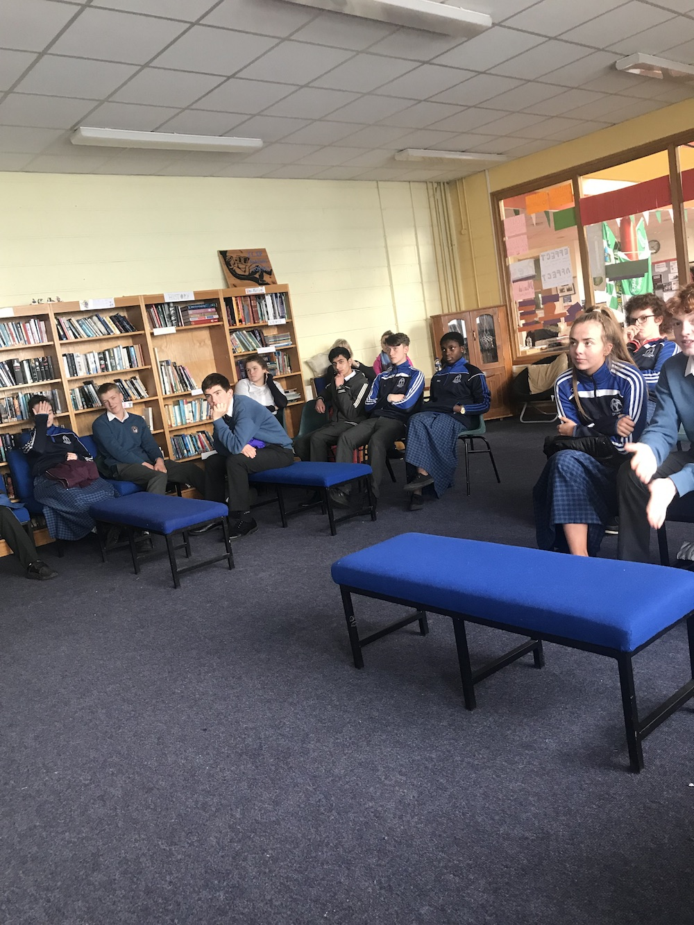 Students enjoying a talk in relation to the Broadford Sports Programme